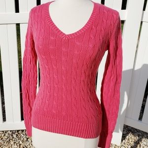 Tommy H cable knit long sleeve sweater solid pink